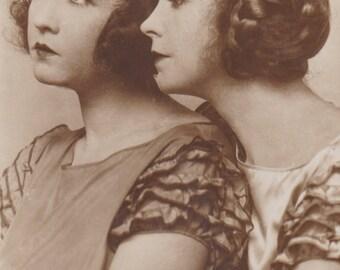 Silent Film Stars, Lilian and Dorothy Gish, French Postcard circa 1920s