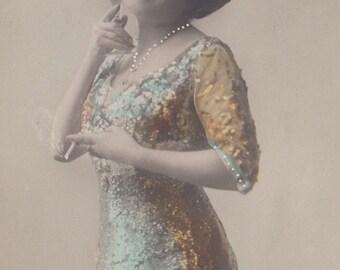 A Suffragette Celebrates 1, Hand-Tinted Vintage Postcard circa 1910s