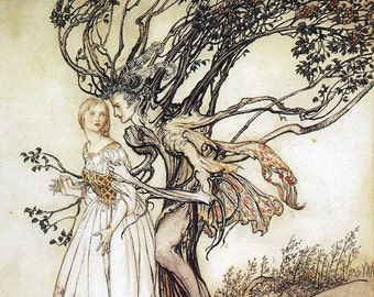 The Old Woman In the Woods,  Arthur Rackham, Vinatge Art Print