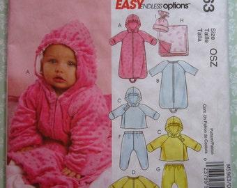Infants Lined Buntings and Jacket, Jumpsuits, Pants, Reversible Blanket & Hat Sizes NB S M L McCalls Pattern M5963 UNCUT