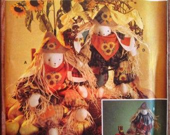 Vintage 1990s Scarecrow Bunny Dolls Simplicity Crafts Pattern 8649 UNCUT