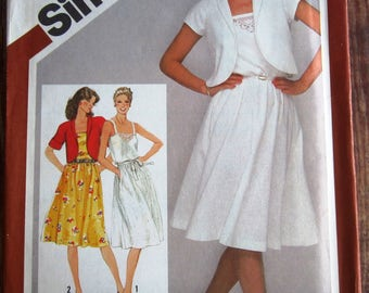 Vintage 1980s Misses Pullover Sundress with Unlined Bolero Jacket Size 12 Simplicity Pattern 9909 UNCUT