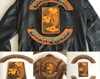 California Poppies Leather Jacket Patch