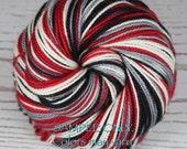 "Dyed to Order: Self striping sock yarn - ""RED BLACK GRAY White"" - Football - Sports School Team colors - Atlanta, Portland, Columbus"