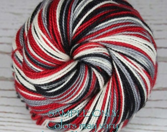 "Dyed to Order: Self-striping ""RED BLACK GRAY White"" Handdyed Sock Yarn - Football - Sports School Team colors - Atlanta, Portland, Columbus"