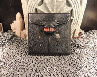 Double Light switch cover:Black Leather and Red Eye