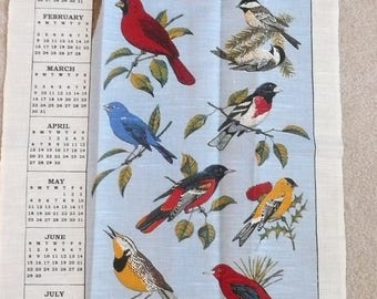 1997 Linen Bird Calendar Towel, New Vintage