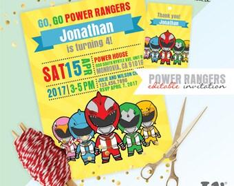 Power Rangers INSTANT DOWNLOAD Editable Invitation / Power Rangers Invitation  / EDITABLE Power Rangers Invitation