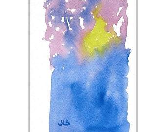 "Original Watercolor, Abstract Art, Multi-color, Meditation, Zen,  Contemporary Art, Blue, Violet, 5""X7"", Wall Art, Home decor"