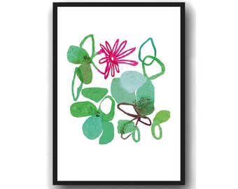 Modern Flower Art Print, Flower Wall Art, Kitchen Art,  floral Watercolor green , Mother's Day gift for her