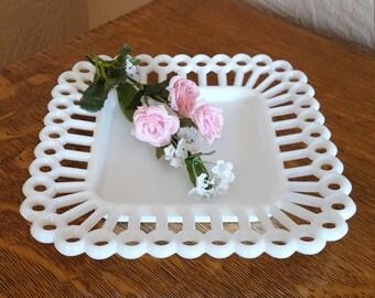 Open Lace Square Milk Glass Salad Plate - Oak Hill Vintage