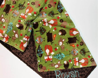 Woodland Animals Baby Blanket, PERSONALIZED Baby Blanket, Green and Brown, Double Minky, Custom Blanket, Forest animals - Choose Your Colors