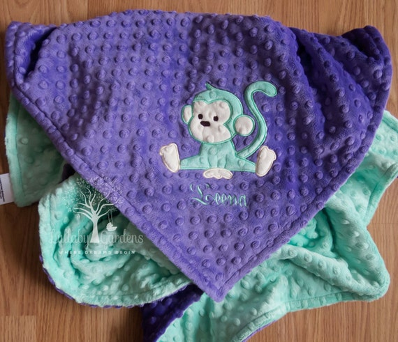 Personalized baby gifts monkey minky baby blanket baby girl like this item negle Image collections