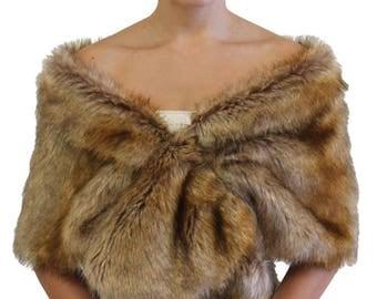 Bridal fur stole Vintage Brown, Wedding stole fur, faux fur wrap, shrugs boleros wraps 800NF-VBRN