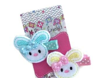 Bunny hair clip, Easter hair clip, felt clip, baby hair clip, toddler hair clip, hair accessory, baby accessory, baby barrettes, clippies
