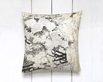 Black and White Japanese Vintage Kimono Silk Fabric Pillow Cushion 'Royal Garden'