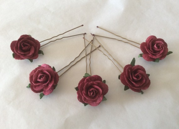 Hairpins x 5 Paper Roses. Dark Red/Wine. Bridal, Regency, Victorian.