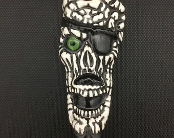 SALE // Ceramic Pipe // White Pirate Skull