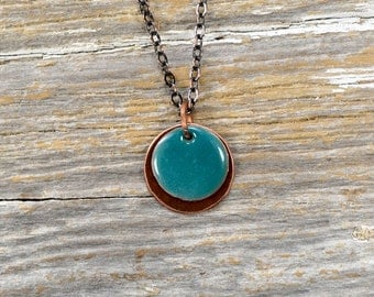 Recaimed Copper and Layered Enameled Disc Necklace - Reclamied Copper and Fire Torch Enamel Sea Foam Green Layered Disc Necklace