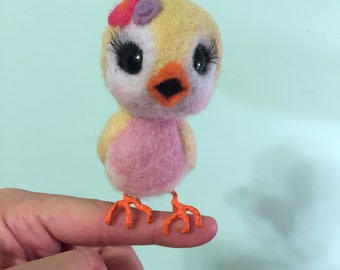 Canary with Flowers / Blue Bird / Felted with Claws / Art Doll / Needle Arts / Cute Bird