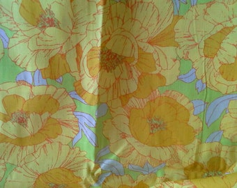 Large Yellow Floral Print Cotton Fabric 2 Yards X0722