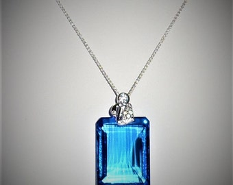 Natural 73ct Emerald Mix Swiss Blue Topaz gemstone, SOLID sterling silver Pendant, Chain
