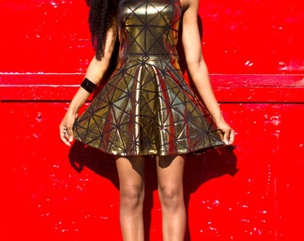 Gold Disco Skater Dress