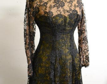 1940s Illusion lace black evening dress / 40s long sleeve full skirt party chorus dress - S