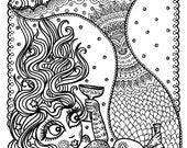 Mermaid Instant Download Coloring page Coloring for Adults Fun mermaids to color