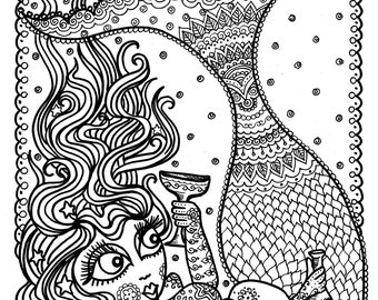 mermaid instant download coloring page coloring for adults fun mermaids to color - Mermaid Coloring Pages Adults