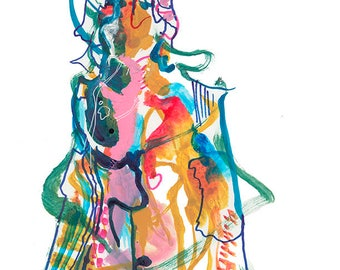 "Original Abstract Watercolor Fashion Illustration featuring Unique Figure, 9"" x 12"" - A16"