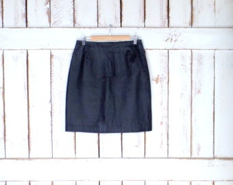 Vintage black leather fitted high waisted knee length skirt/leather pencil skirt/black midi skirt/10