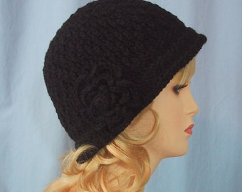 Black Cloche Hat with Flower - Hand Crocheted - Super Soft Acrylic Yarn - Handmade - Size Medium - Ladies Hat - Nice Gift - Great Chemo Hat