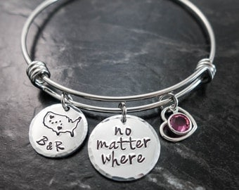 Long Distance Relationship / No matter where / Charm Bracelet / Wire Bangle/ Couples Bracelet / Best friends Jewelry