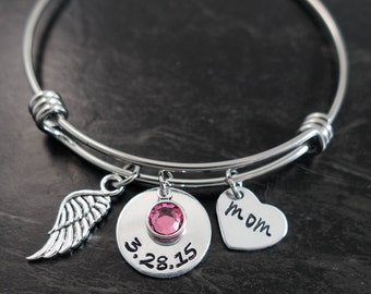 Charm Bracelet / Wire Bangle / In Loving Memory Bangle / Loss of a loved one / Remembrance Bracelet / Sympathy Gift