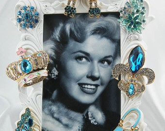 Super Sparkly Turquoise Poodle, Paris Fashion Inspired, Rhinestone and Crystals on a White Baroque Picture Frame, All Occasion Gift
