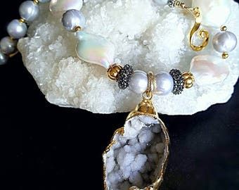New! Fossilized Druzy Sea Shell Pendant with Nucleated Pearls Platinum Freshwater Pearl Statement Necklace Gift for Her Wedding Jewelry