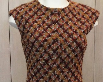 Free Shipping! Vtg. OSCAR de la RENTA Tweed Dress in Maroon Brown and Red- Size 8
