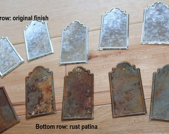 Rusty metal tags, rustic tags, metal tags, rustic metal tags, heavy patina metal tags for crafts, gift tags, scrapbooking tags, silver tags