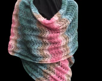 Shawl/Wide Scarf Knitting Kit - Colour Seafoam