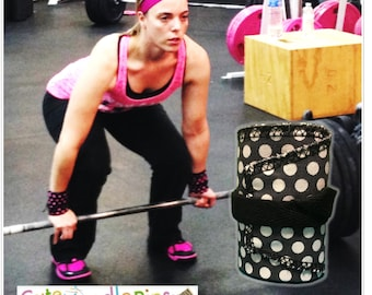 Free Shipping to the US** CrossFit Wrist Wraps - Gray and White Polka dot - DH