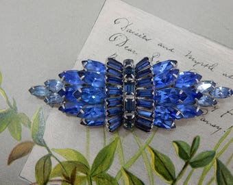 KRAMER of NEW YORK Signed Blue Art Deco Bow Brooch   OAH3