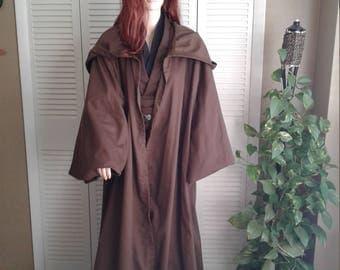 Star Wars Jedi Knight Brown Hooded Floor Length Robe Sz. Small Handmade Traditional Pattern