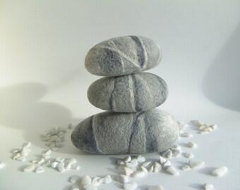 Stones -Felted Rocks - Set of 3 - Rock Art - Natural Home Decor - ECO Friendly Decor - Pebble