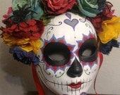 Sanora Catrina Day of the Dead Mask - Day of the Dead Heart and spider webs Skeleton sugar Skull Bones Dia De los Muertos Calavera mask