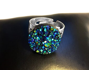 Blue & Green Druzy Crystal Ring