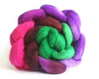 Summer Garden Polwarth combed tops for spinning or felting