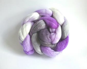 Lilac Mist Organically farmed Merino/Mulberry Silk combed tops for spinning