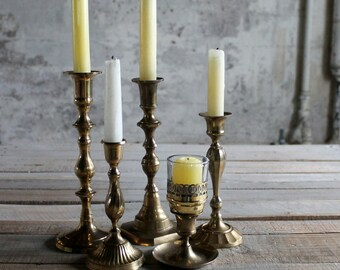 5 Vintage Brass Candlestick Holders