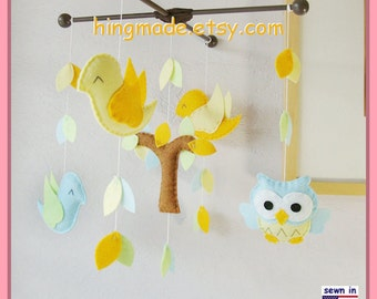 Baby Mobile,Morning Bird Mobile,Aqua Owl Mobile, Yellow Nursery Mobile, Tree Top Mobile, Match Bedding Mobile